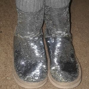 PINK silver boots